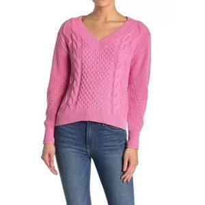 NWT Abound Pink V-Neck Cable Knit Sweater Size XS